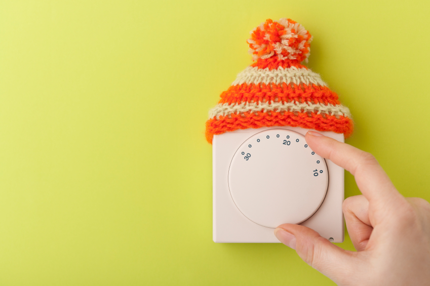 House thermostat with wooly hat
